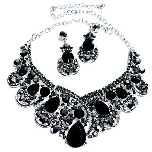 Black Rhinestone Necklace Earring Set Bridal Wedding Jewerly Prom Pageant