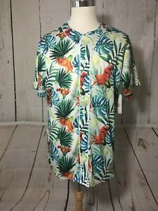 NWT ROCAWEAR-Mens Tropical Floral Full Button Down Baseball #99 Jersey-Size XL