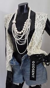 Ladies Chunky Vintage White Pearl Multi Layer Statement Beaded Bib Necklace 36
