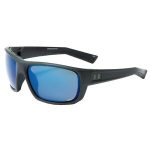 Under Armour Launch Sunglasses ANSI Satin Black Blue Storm Mirrored POLARIZED