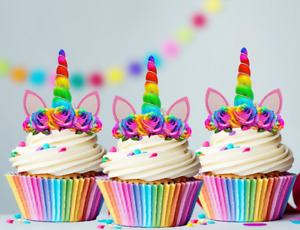 24x Mini Rainbow Unicorn Horn and Bright Flowers Edible Cupcake Toppers Uncut