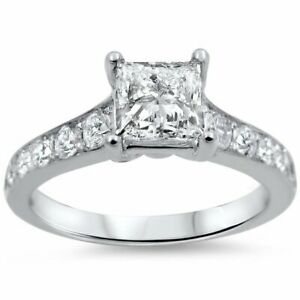 Noori 14k White Gold 1 14ct TDW Princess-cut Diamond Engagement Ring