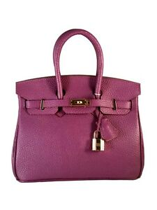 25 cm Birkin Genuine Leather St. Germain Top Handle Handbag Purple Designer