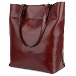 Women's Soft Leather Work Tote Shoulder Bag Handbag Casual Everyday Purse RED