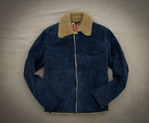 Levi's Made & Crafted LMC LVC type 3 Sherpa Medieval Blue Suede Trucker Jacket