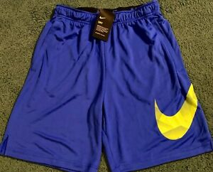 NWT Mens Nike 2XL Royal Blue Neon Yellow BIG SWOOSH Dri Fit Shorts XXL $32.99
