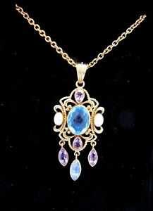 Nicky Butler Pendant Bronze Collection Blue Gemstone Pendant Amethyst Drops