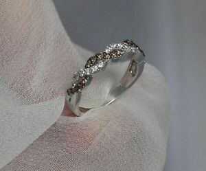 LEVIAN CHOCOLATE AND WHITE DIAMOND TWIST RING 14K WHITE GOLD SIZE 6 - $1899.00