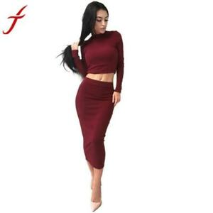 Fashion 1PC Blouse+1PC Dress Sexy Solid Women Long Sleeve Bodycon Cocktail Club