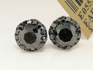 2.10Ct Round Cut Black Diamond Halo Stud Earrings Solid 14K Black Gold Finish