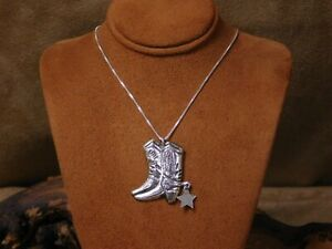 Sterling Silver Cowboy Boot with Dangling Spur Necklace