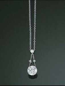 1.00 CT Round Diamond Solitaire Pendant Necklace Chain 16