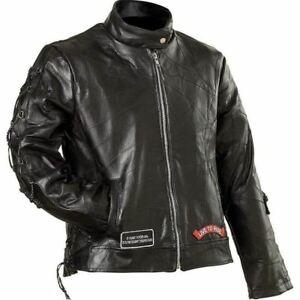 NWT Womens Black Leather Motorcycle Jacket Bike Live To Ride Eagle Flag XL GIFT