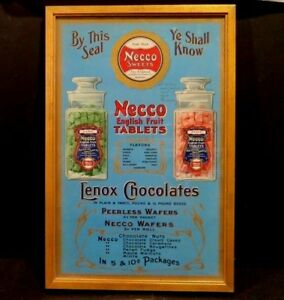 1912 ADVERTISING ART PROOF NECCO CANDY Sign Whitehead Hoag WAFER CANDIES 1 OF 1