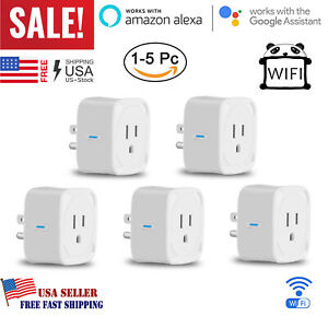 WiFi Smart Outlet Plug Socket Power Adapter Switch work With Google Home Alexa