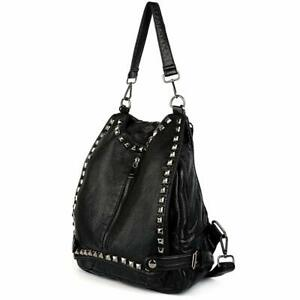 UTO Women Backpack Purse PU Washed Leather Rivet Studded Convertible Ladies Ruck