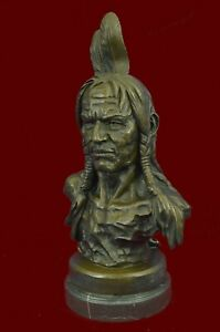 Native American Indian Warrior Chief Bronze Bust Sculpture Statue Figurine Decor