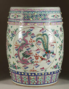 An Excellent Chinese Qing Dynasty Famille Rose Porcelain Garden Seat.