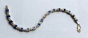 Authentic Yellow Gold 14KT Diamond And Sapphire Tennis Bracelet 19.3 GRAMS
