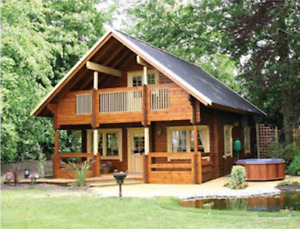 24 ft x 28 ft 1356 sq ft Log Cabin Kit 2 Story 3 Bed Wooden Guest House  Home