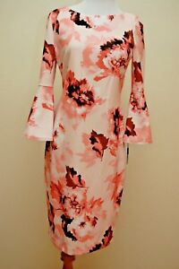 CALVIN KLEIN Designer Dress SIZE 6 Floral Flutter Bell Sleeve NEW with tags