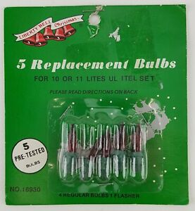10 PIECE LOT REPLACEMENT CHRISTMAS STRING LIGHT BULBS RED COLOR GREEN BASE