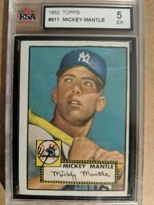1952 Topps #311 Mickey Mantle - New York Yankees - EXCELLENT Grade 5
