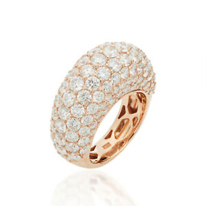 Dome Pave Diamond 18K Rose Gold Handmade Ring Fine High Jewelry Christmas Gift