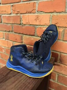 Boys ~ Under Armour ~ Tennis Shoes ~ Size 13 ~ High Tops Blue Black Steph Curry