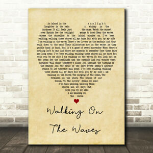 Walking On The Waves Vintage Heart Song Lyric Quote Print