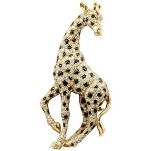 Cartier Onyx Emerald Diamond 18K Yellow Gold Giraffe Brooch