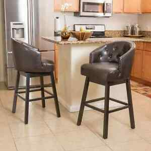 Ogden 31-inch Bonded Leather Swivel Backed Barstool (Set of 2) by Christopher