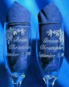Roses Bride & Groom Wedding Champagne Glasses (Set of 2) Free Personalization