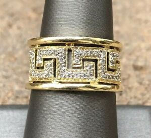Designer 18k Yellow Gold Pave Diamond Versace Greek Key Pierced Wide Band Ring