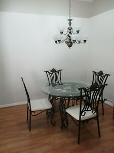 5 PIECE BEAUTIFUL GLASS AND TILE TABLE WITH 4 CHAIRS DINING SET