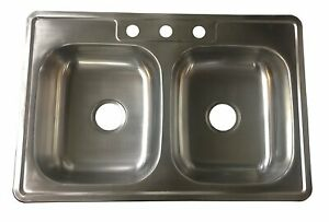 Kitchen Sink Stainless Steel Over-Mount Kitchen Sink Double Bowl 50/50 3 Holes 3