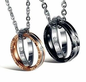 His Hers Matching Set Titanium Stainless Steel Couple Pendant Necklace