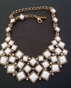 Oscar de la Renta Gold Pewter White Cabochon Bib Statement Necklace wFaux Opals