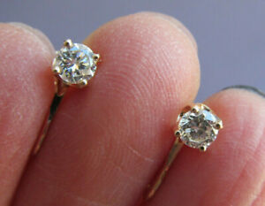 VINTAGE 14K YELLOW GOLD ROUND DIAMOND STUD SCREW BACK EARRINGS .25ct EACH 1.7g
