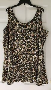 NWT Denim and Co PEPLUM Style TOP Size 2X Brown Animal Print $36.25