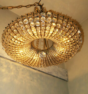 8Lt Vintage bronze brass Doughnut lamp chandelier crystal French ceiling beaded