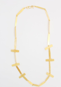 Annie Costello Brown Gold Cross Bar Necklace