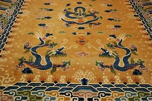 Ci 1920's ANTIQUE ART DECO DRAGON DESIGN CHINESE RUG 9.4x12.3 FOUR CLAWED DRAGON