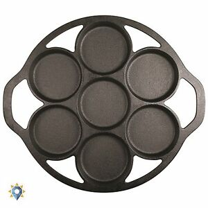 Biscuit Cooker Pan Cast Iron Muffin Round Cookie Cornbread Pancake Griddle New