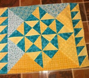 Quilting square dark teal and yellow cotton 22quot; X 18quot; Suitable for framing. $13.39