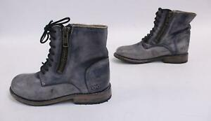 Bed Stu Women's Tactic Leather Lace-UpZip Boots AB3 Gray Size 8.5 $255