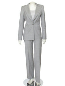 *PERFECTLY CUT!* Escada Light Gray Plaid Wool Jacket Pant Designer Suit sz 36 6