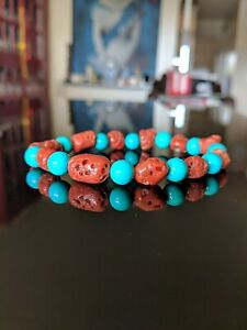 100% Natural Italian Red Coral + Turquoise Bead Bracelet for Men 9 - 8mm 8