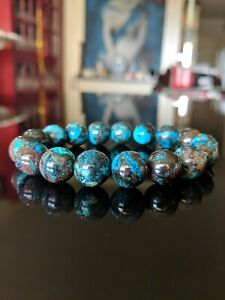 100% Natural Chrysocolla Bead Bracelet Men (Stretch) 12mm - 8