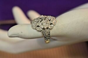 Estate 18k white gold pave diamond cluster ring size 7 12